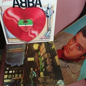 Paper ephemera vintage record covers Bowie, Abba,